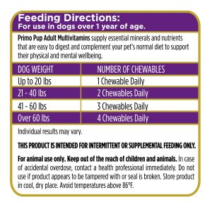 Adult Multivitamin for Dogs Feeding Directions