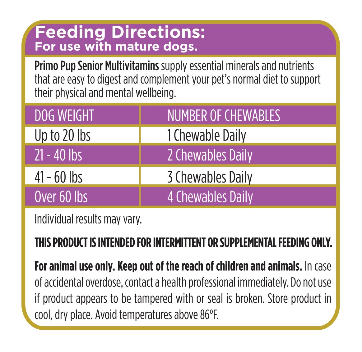 Senior Multivitamin Feeding Directions