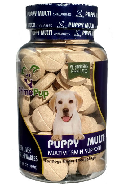 Jar of puppy multivitamins