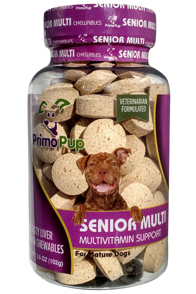 Jar of multivitamins for senior dogs