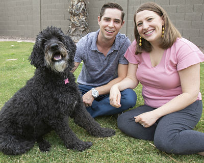 Picture of Primo Pup Vet Health owners Casey & Nora Jones with their dog Cabo.